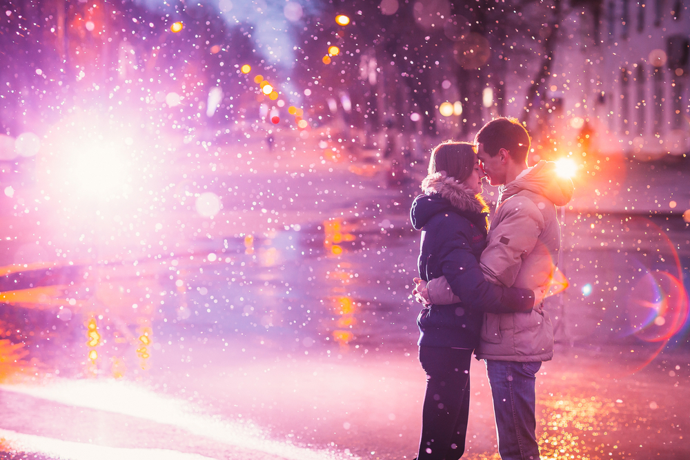 love couple at night city street with light flashing
